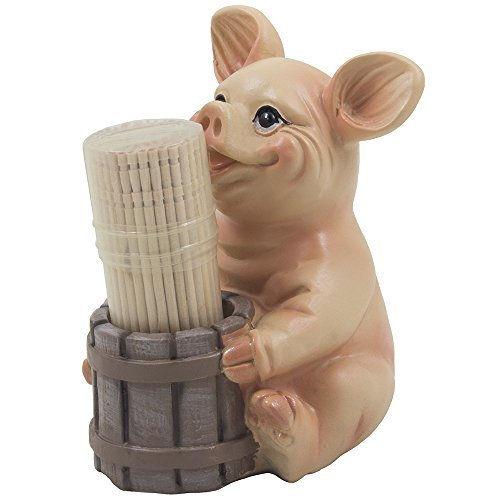 Decorative Smiling Pig and Faux Wood Barrel Toothpick Holder for Whimsical Barnyard Decoration or Rustic Country Kitchen Decor As Farm Animal Gifts for Farmers