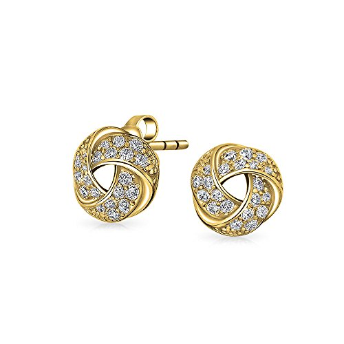 Love Knot Work Clip On Earrings For Women Pave CZ Button Style Non Pierced Ears 14K Gold Plated Sterling Silver