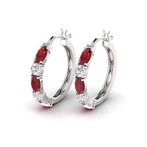 (Diamondere Natural and Certified Ruby and Diamond Huggies Hoop Earrings in 14K White Gold | 1.71 Carat SI1-SI2 Quality Earrings for)