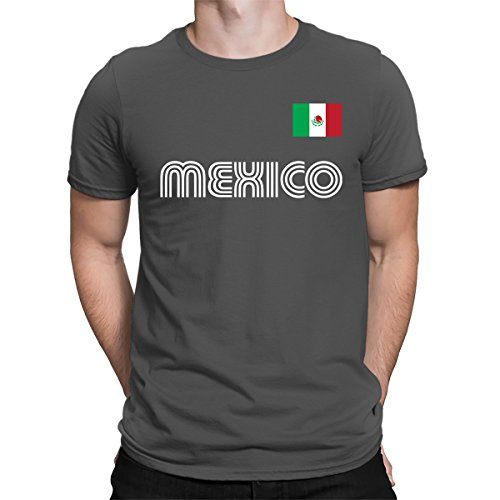 SpiritForged Apparel Mexico Soccer Jersey Men's T-Shirt, Charcoal 3XL