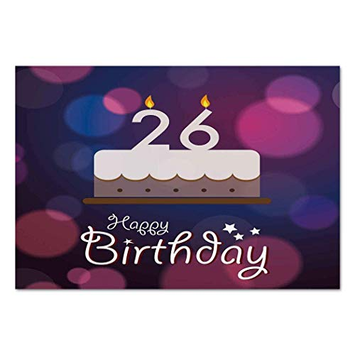 VAMIX Sticker [ 26th Birthday Decorations,Vivid Message Love Cake Retro Greeting Concept Graphic,Fuchsia Dark Blue Tan ] Self-Adhesive Vinyl Wallpaper/Removable Modern Decorating Wall -