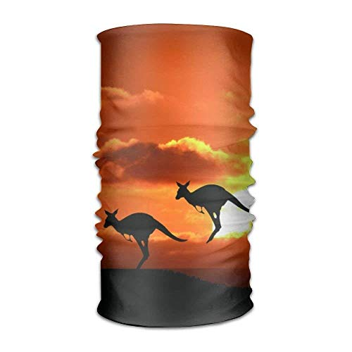 Kangaroo Sunset Australia Wallpaper Unisex Fashion Quick-Drying Microfiber Headdress Outdoor Magic Scarf Neck Neck Scarf Hooded Scarf Super Soft -