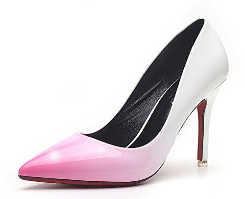 Spitz Farbverlauf Pink Aisun Arbeit Stiletto Pumps Kunstleder Sexy Top Damen Lack Zehen Low SFEUwq