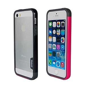 MOFY-Doble de la manera del color TPU cap'tulo de parachoques para iPhone5S (Negro + Rosa)