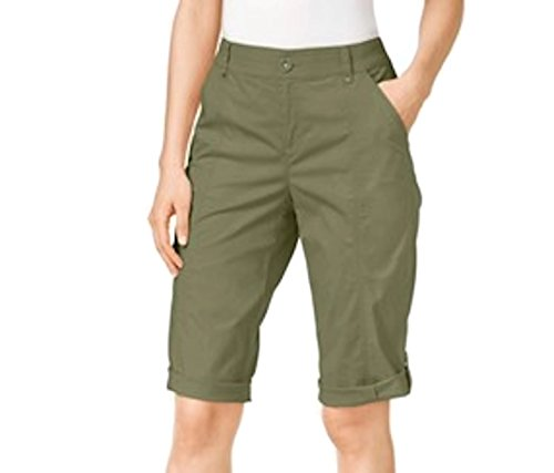 - STYLE & CO CUFFED SKIMMER SHORTS OLIVE SPRING GREEN 16 CARGO