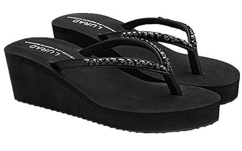 Thong Wedge Summer Flops Black Beach Womens Flip ANBOVER Platform Crystal Sandals Slippers wYxqI51S