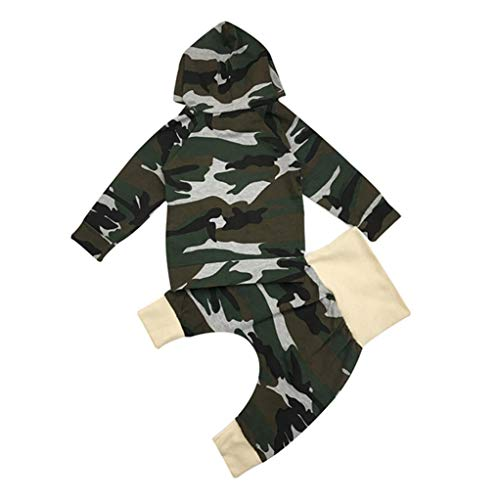 Baby Kids Outfits,Fineser Clearance Sale!!Infant Toddler Baby Boys Girls Camouflage Splice Hooded Top+Pants Outfits 2 Sets