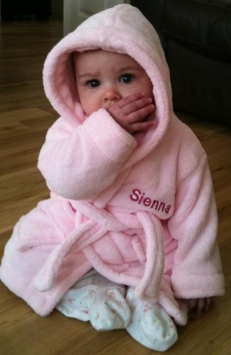 personalised baby bathrobe pink or blue age 6 months soft touch