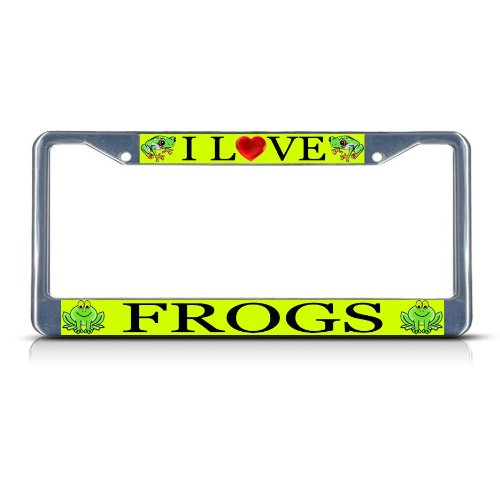 I LOVE FROGS Chrome Metal Heavy Duty License Plate Frame Tag (Frog License Plate Frame)