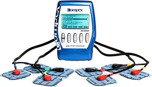 Compex Performance Blue Muscle Stimulator Bundle Kit: Muscle Stim, 12 Snap Electrodes, 5 Programs, Lead Wires, Battery, Case / Strength, Recovery, Endurance, Resistance, Pre-Warm Up by Compex