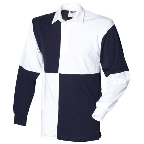 Front Row Quartered Rugby Sports Polo Shirt (XXL) (White/Navy (White collar))
