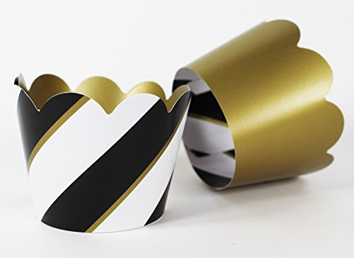 Metallic Gold and Black Striped Cupcake Wrappers for Elegant Weddings & Celebrations, Graduations, Anniversary, Birthday & Gatsby Parties, Bridal Showers. Set of 24 Reversible, Adjustable Cup Cake Hol by Saybrook Products