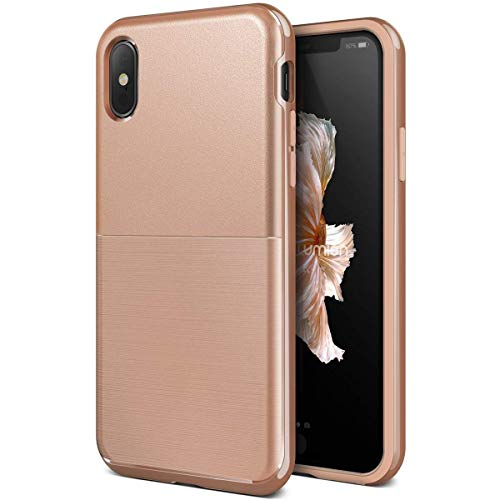 VRS DESIGN iPhone Xs Case, Dual Layer Protective Phone Case [Blush Gold] Premium Shockproof TPU Silicon Heavy Duty PC Bumper Cover for Apple iPhone Xs/X [High Pro Shield]