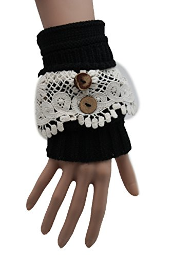 Michael Jackson Costume Party City (TFJ Women Fashion Winter Gloves Black Fabric Cream Filigree Lace)