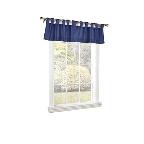 Thermalogic Weathermate Insulated Solid Color Tab Top Valance, Navy, 40 x 15