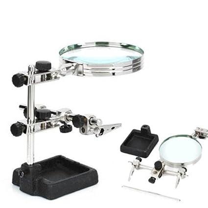 Grandindex tercera mano soldador soporte ayudando a lupa estación de trabajo de cristal luz lupa #