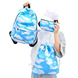 Sameno 3 Sets Women Girl Cats Travel Backpack School Bag Drawstring Bag Handbag (A)