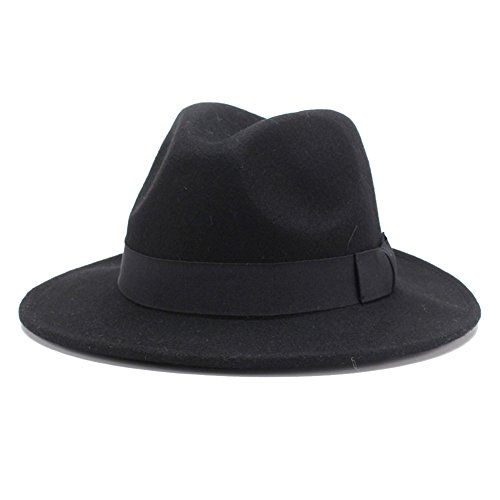 Black Felt Fedora - HH HOFNEN 100% Wool Fedora Hats For Women Vintage Wide Brim Fedora Cap (Black)