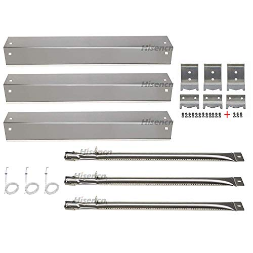 Hisencn Repair kit Parts Stainless Grill Burner Tube, Heat Plate Shield Tent, Hanger Brackets, Electronic Ignitor Replacement for Chargriller 3001, 3008, 3030, 4000, 5050, King Griller Gas Grill ()