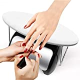 Nail Arm Rest, Microfiber Leather Manicure Hand Pillow Nail Art Cushion Stand for Nail Table Desk Salon Use (White)