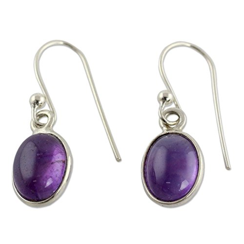 NOVICA .925 Sterling Silver and Amethyst Cabochon Dangle Earrings, Luminous Lilac'