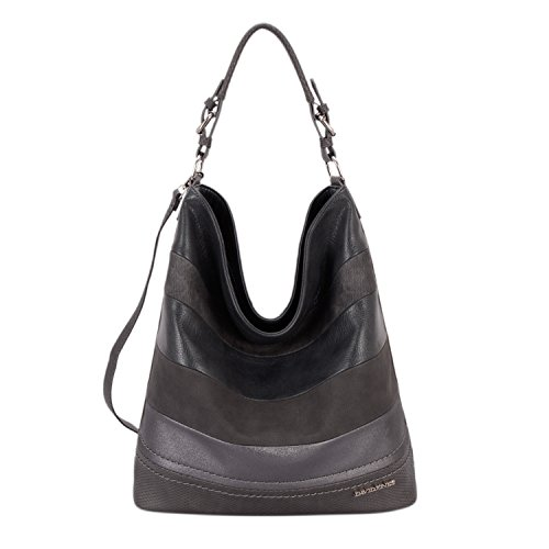 ATIONAL Womens Soft Faux Leather Bucket Bag Large Hobo Tote Grey Purse Handbags ()