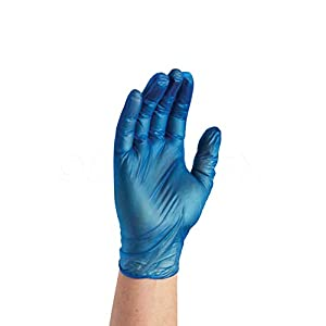 AMMEX GlovePlus Blue Vinyl Disposable Gloves - on hand
