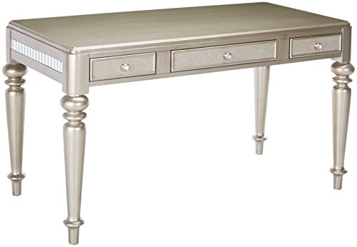 Coaster Home Furnishings Bling Game Writing Desk with Drawer Fronts Metallic Platinum For Sale