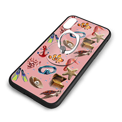 iPhone X Plus Cover Anchor Starfish Sea Horse Case with Finger Ring Stand XS Phone Kickstand Holder Shock Protective Basic Protector]()