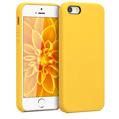 Honey Yellow Case - kwmobile TPU Silicone Case for Apple iPhone SE / 5 / 5S - Soft Flexible Rubber Protective Cover - Honey Yellow