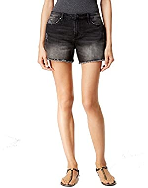 Calvin Klein Womens Distressed Frayed-Hem Denim Shorts Black 29