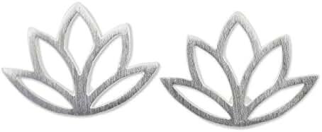 NOVICA .925 Sterling Silver Button Earrings 'Sunrise Lotus'