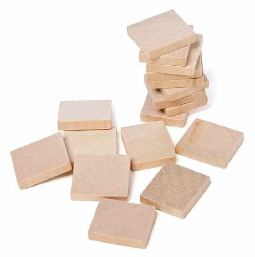 Light Color Unfinished Wood Square Plain Tiles for Crafting, Altered Art, and Embellishing- 36 ()