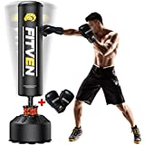 FITVEN Freestanding Punching Bag 70''-205lbs with Boxing Gloves Heavy Boxing Bag with Suction Cup Base for Adult Youth Kids -