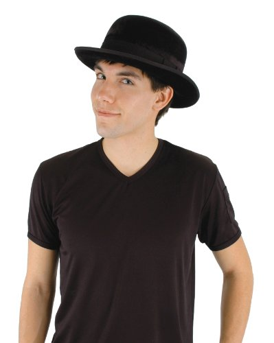 elope Gentleman Bowler Hat, Black, One Size