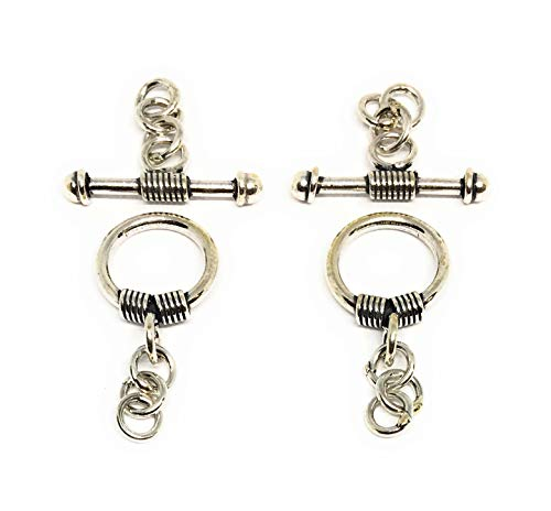 - 2 Sterling Silver Bali Toggle Clasps 10mm Wire Wrapped Decorative Ends