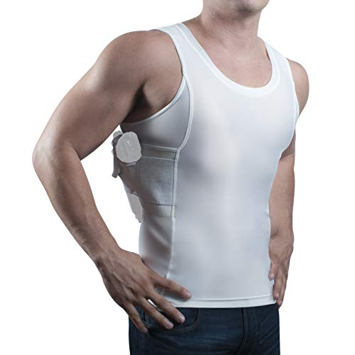 (ConcealmentClothes Men's Compression Undercover- Concealed Carry Holster Tank Top Shirt - White - X-Large )