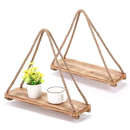 MaidMAX Wood Hanging Swing Rope Floating Shelves, Rustic Wood Rope Hanging Plant Shelf, Jute Rope Organizer Rack, 60-Inch Ropes, Set of 2, Light Brown