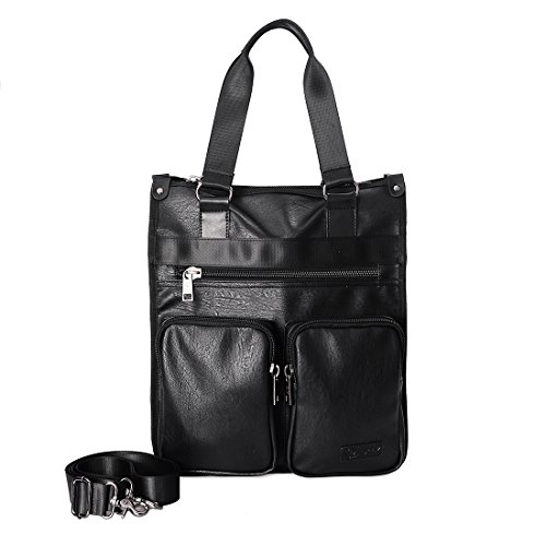 Douguyan 15.6 Inch Laptop Bag Vertical Canvas Messenger Bag Shoulder Tote Bag Canvas Briefcase for Men and Women Black 235 ()