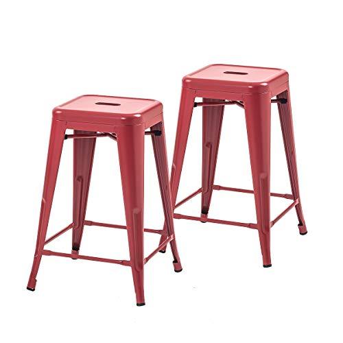 Buschman Set of 2 Red 24 Inch Counter Height Metal Bar Stools, Indoor/Outdoor, Stackable ()