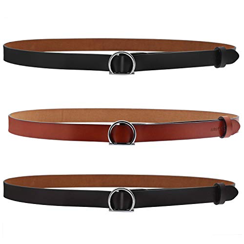 - ANDY GRADE Set of 3 Women's Genuine Cowhide Leather Stylish Thin Dress Belt Fashion Vintage Casual Skinny Belts for Jeans Shorts Pants Summer for Women with Alloy Buckle (Black,Brown,Orange)