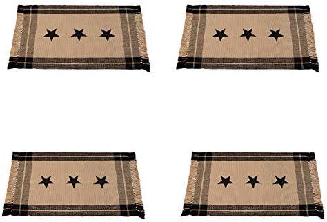 Black Simply Stars Plaid Border 24 x 42 Inch Heavy Woven Cotton Floor Mat Rug Four Pack