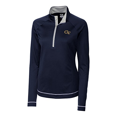 Cutter & Buck NCAA Georgia Tech Women's Long Sleeve Evolve Half Zip Jacket, X-Large, Navy (Georgia Tech Lady Jackets)