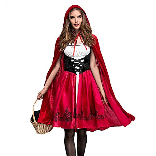ThsiJJ Womens Halloween Costume Cosplay Ball Party Hooded Bandage Shawl Dress Suit Lace Up Cute Red Swing Dresses ()