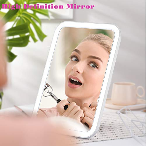 BEZOX LED Makeup Mirror,14mm Ultra-thin Cordless Lighted Vanity Mirror, USB Charge Powered LED Mirror with Back Bracket, Slim Makeup Mirror for Countertop and Travel Use