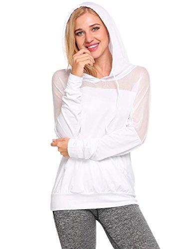 Zeagoo Womens Pullover Hoodie Mesh Patchwork Colorblock Sweatshirt White (Hooded Mesh Pullover)