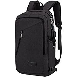Yorepek Slim Laptop Backpack, Business Computer Bag with Headphone Port, Anti Theft Travel Bag with USB Charging Hole for College Students, Fits up to 15.6 inch Laptop / Notebook (Black)