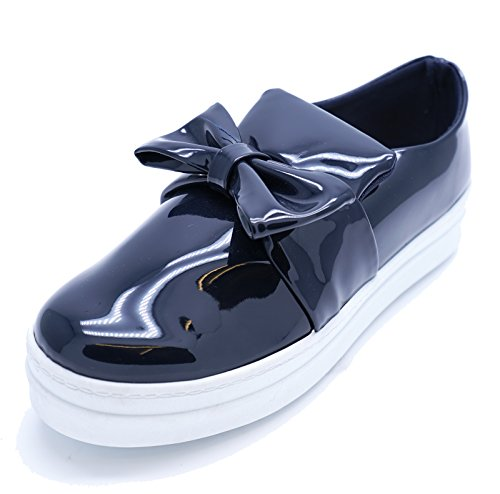 3 Bow Ladies Shoes Flat Plimsolls HeelzSoHigh Sizes 8 Platform Slip Comfy Patent Pumps Navy On SOdxqTw8