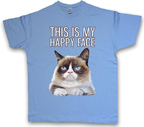 THIS IS MY HAPPY FACE T-SHIRT – Grumpy Katze Gesicht Cat Smile Fun Cute Rockabella Girl Kitten Katze Größen S – 5XL