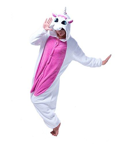 Women and Men Unisex Rose Unicorn Kigurumi Onesie Pajamas Costume Birthday PartyWear L